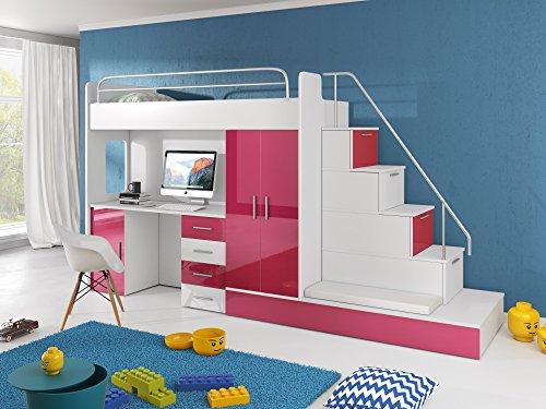 *Hochbett TOMI – Schreibtisch, Schrank, Treppe und Gästebett mit Hochglanz-Fronten in weiß / schwarz / rosa / grau / lila / blau (rosa)*