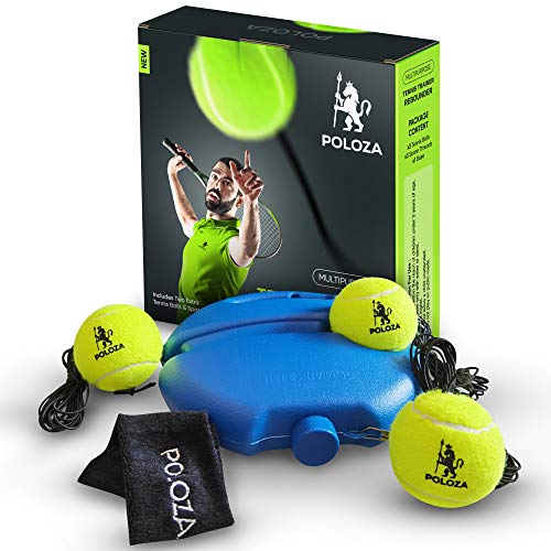 POLOZA Professional Tennis Trainer – Tennis Trainer Rebound Ball – Tennis Equipment for SelfPractice – Portable Tennis Practice Rebounder – Solo Tennis Trainer with Long Ropes and Tennis Headband