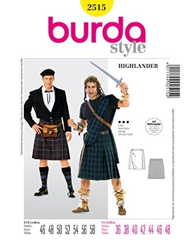 Burda 2515 Schnittmuster KostŸm Fasching Karneval Highlander Schotte (Herren, Gr, 46 - 58) Level 3 mittel