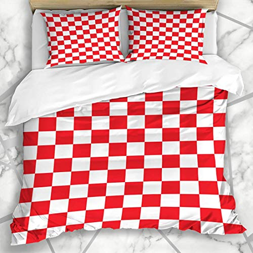 HATESAH Bedding - Duvet Cover Set Diner Red White Checkerboard Pattern Abstract Check Checkered Checkers Chequered Chess Decorating Microfiber New Three-Piece Set Of Various Patterns 135 * 200