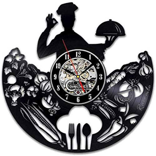 Bestek Vinyl Record wandklok Modern Design lepel vork decoratieve keuken Vintage Vinyl klok muur horloge Home Decor Silent-3