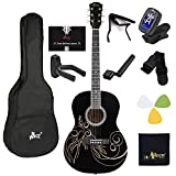 WINZZ 39 Inches Concert Acoustic Guitar with Full Kit, Glossy Black