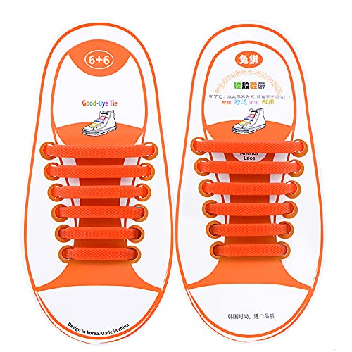 Talent Fashion No Tie Shoelaces for Adults Kids Seniors Silicone Stretch Elastic Tieless Shoelaces Lazy Waterproof Rubber Shoe Laces for Sneakers Casual Shoes Boots Orange Kid Size