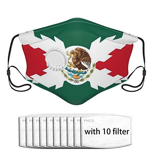 Spanische Empire-Flagge Mexiko-Flagge Staubgesichtsschal Co_V-Er Mund Co_V-Er Mit 10 Filtern Mit Einatemventil