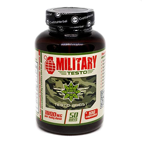 Military Testo | 100 Capsules x 900 mg (50 Days Supply) | Tribulus Terrestris | Leuzea Extract | Natural Testosterone Booster | Hormonal Balance | Muscle Growth | by Cvetita Herbal