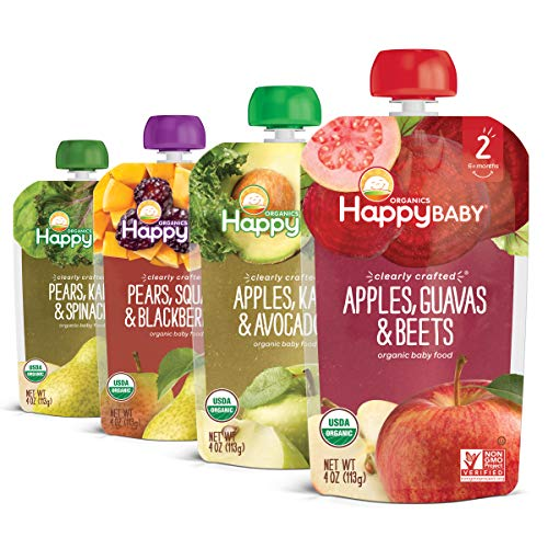 Happy Baby Organics Clearly Crafted Stage 2 Baby Food, Variety Pack, Pear-Squash-Blackberries, Apple-Kale-Avocado, Apple-Guava-Beet, Pear-Kale-Spinach, 4 Ounce Pouch (Pack of 16)