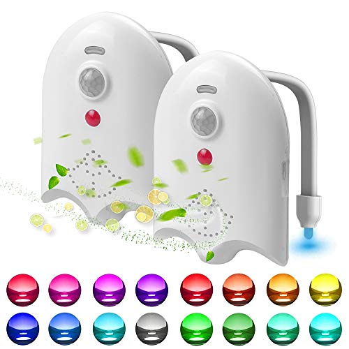 2 Pack Light Up Toilet Night Light Motion Sensor 16 Colors, Rechargeable Led Toilet Bowl Night Light Motion Activated W/ Aromatherapy Tablets, Funny Birthday Gifts Ideas - By Lantoo