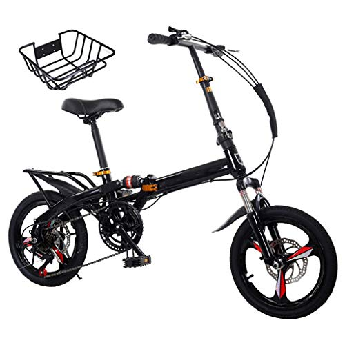 New TXTC Folding Bike,Shock-Absorbing Cruiser Bike Women,Variable-Speed Bikes Lightweight Foldable B...