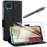 AROYI Funda Compatible con Samsung Galaxy A12 / M12 con Protector Pantalla, Carcasa Cuero Suave de l...