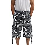 LA Gate Mens Big and Tall Belted up to Size 50 Cargo Short (48, White Camo)