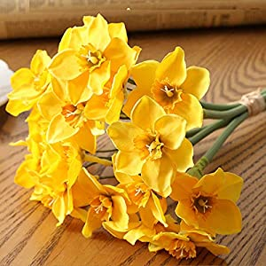 """SANSHIYI 6pcs/Lot Artificial Daffodil Plant Fake Flower 40"""", Simulation Faux Narcissus for Home Office Desk Wedding Scene Decor(Yellow)"""