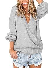 LookbookStore Women's Knit Long Sleeve Faux Wrap Surplice V Neck Sweater Top