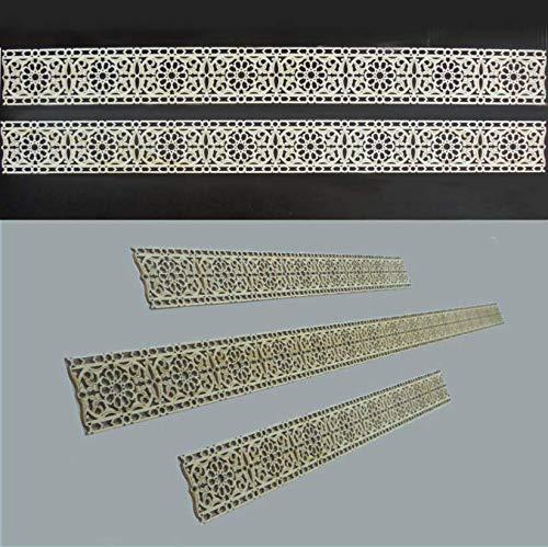 Zagora Dekorpaneele Bordüre mit Ornament Blüten - Holz 4 Stück zu 50 * 5 * 0,3cm - Zierleiste Wand Decke Möbel