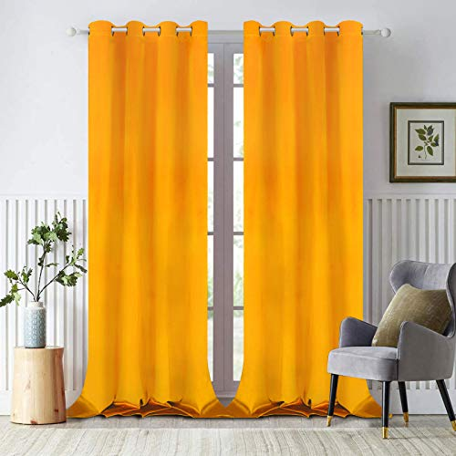 Yellow Velvet Window Curtains, Room Darkening Thermal Insulated Curtain Panel, Window Drapes with Grommets for Bedroom Living Room Decor, Set of 2 Panels, 52 x 84 Inch Length