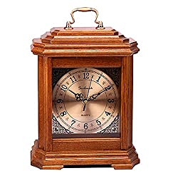 GUOLINGHUI Classic Solid Wood Mantle Clock Mute Running Time Accurate Battery Powered Desktop Decorative Table Clock Easy to Operate (Color : Deep Color)