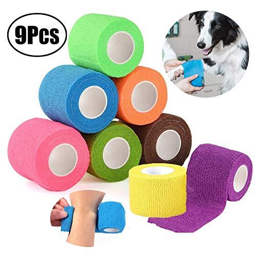 Lvcky Pet, Dog Sports Vendaje Adhesivo Vendaje para heridas Previene la protección contra Lesiones Flexibilidad, 6 x 4.5 cm x 5 m, 9 Piezas