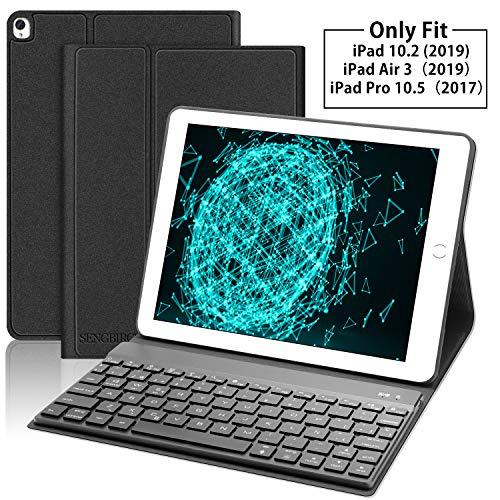 SENGBIRCH Teclado con Funda para iPad 10.2 2019(7ª Generación)/iPad Air 3 2019/iPad Pro 10.5,Español Teclado Bluetooth Retroiluminado con Cover magnética Inteligente Auto Wake/Sleep,Negro