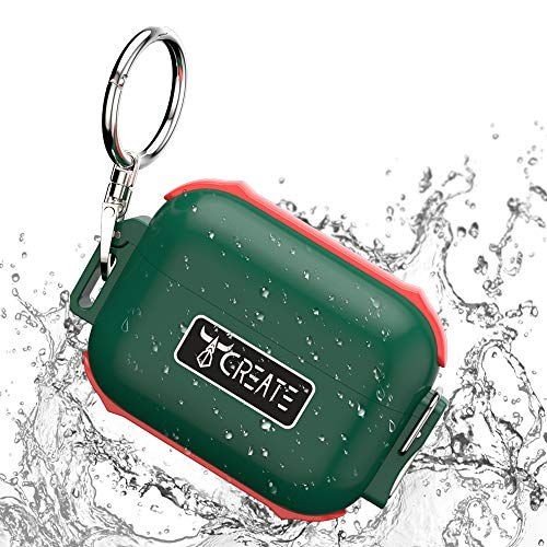 Waterproof Airpods Pro Case,Waterproof Up to 3 Feet,PC+TPU Material Compatible with Airpod 3 Case,Airpods Pro Case with Keychain(Opacity Green&Red)