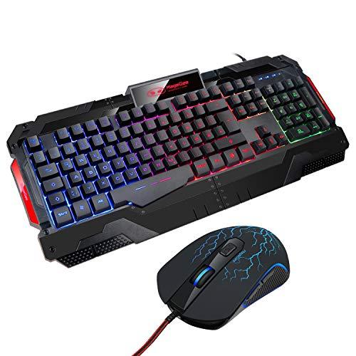Gaming-Tastatur,Qwertz keyboard GK806 Rainbow LED-Hintergrundbeleuchtete Kabel-Tastatur 7 Tastenoptische Maus USB-Gaming-Tastatur und -Maus-Combo-Set für PC-Laptop