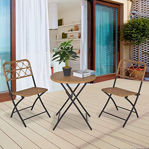 Outsunny 3 TLG. Polyrattan Sitzgruppe Bistroset Balkonset Garnitur 2 Stühlen + Tisch Klappbar Garten Natur - 2