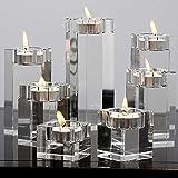AiFanS Tea Light Crystal Candle Holders,Tealight Holders Glass (Clear,Set of 4)