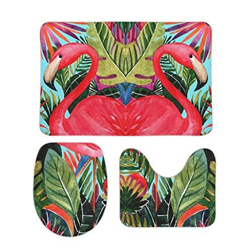 Zhcon Carvapet 3-delige set anti-slip bad toilet vloer mat gebied tapijt set deksel covers Flamingo thema