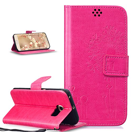 ikasus Coque Galaxy S6 Edge Etui Gaufrage Amour amants pissenlit Housse Cuir PU Housse Etui Coque Portefeuille Protection supporter Flip Case Etui Housse Coque pour Galaxy S6 Edge,Rose rouge