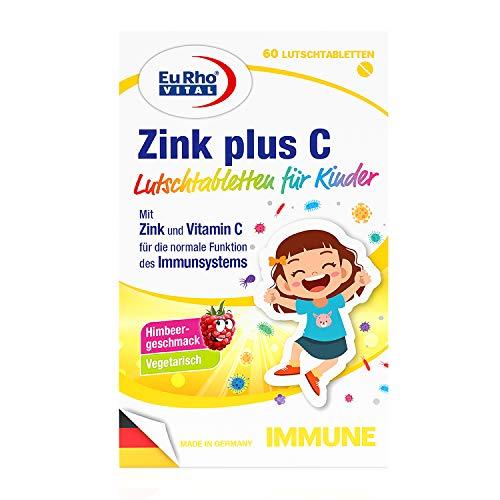 Zink und Vitamin C Lutschtabletten für Kinder | Vegetarische Nahrungsergänzung zur Unterstützung des Immunsystems | Optimal für Kinder ab 4 Jahren | EuRho® Vital – Made in Germany | 60 Tabletten
