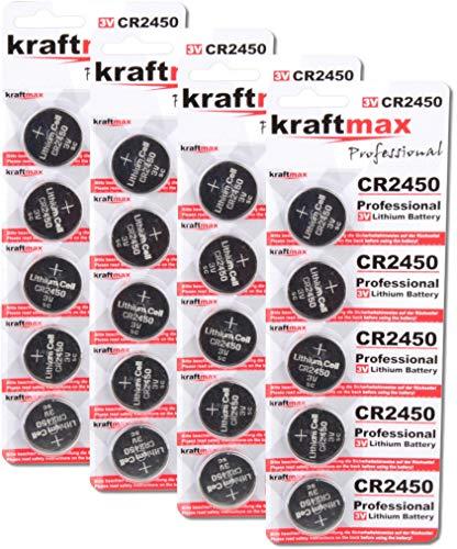 kraftmax 20er Pack CR2450 Lithium Hochleistungs- Batterie / 3V CR 2450 Knopfzelle für professionelle Anwendungen - Neuste Generation