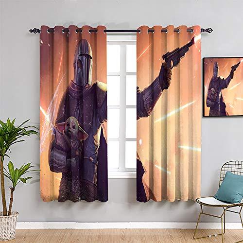Ficldxc Cortina de ventana de Star Wars, cortinas de 160 cm de largo, diseño mandalorian Blaster Baby Yo-da para sala de estar o dormitorio, decoración de habitación de niño, 163 x 163 cm