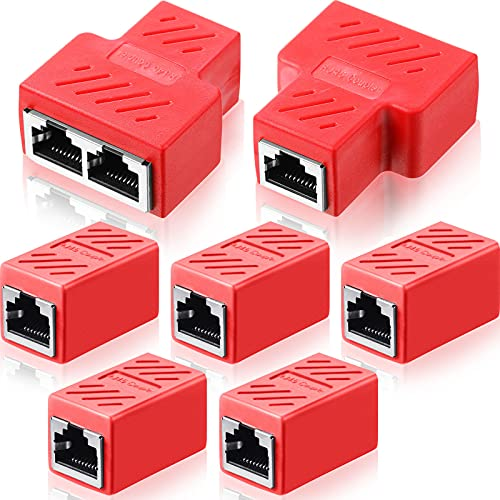 7 Conectores Divisores de Ethernet RJ45 Acoplador RJ45 Acoplador de Cable Red Ethernet Cat7/ Cat6/ Cat5e/ Cat5 Hembra a Hembra, 1 a 2 Adaptador Conector de Enchufe Ethernet LAN (Rojo)
