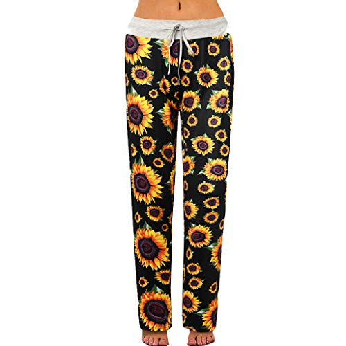 UNKN Palazzo Pants for Women's High Waist Solid and Sunflower Printed Designs Casual Plus Size Loose for Excercise or Yoga Black