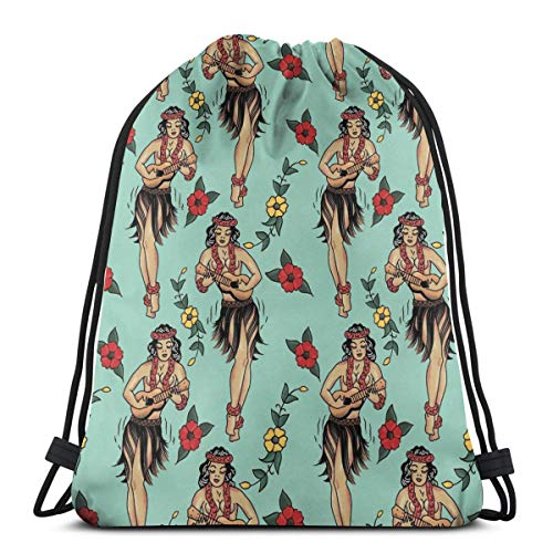Drawstring Bag Jerryâ€s Traditional Aloha Hula Girls In Hawaii Pattern In Aqua Floor Pillow Gift Bag