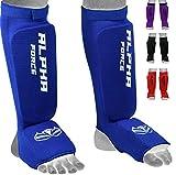 ALPHA FORCE X - Almohadilla Protectora para Entrenamiento de Kickboxing, MMA, Muay Thai Shin & Instep Guards, Color Azul, tamaño Medium