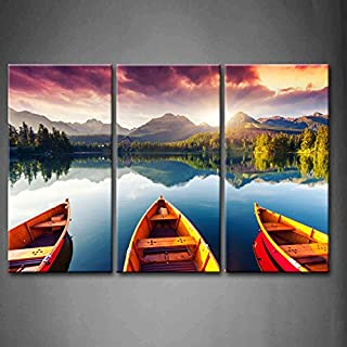 3 Panel Wall Art Mountain Lake Sunset Three Boats Trees Painting The Picture Print On Canvas Landscape Pictures For Home Decor Decoration Gift piece (Stretched By Wooden Frame,Ready To Hang)