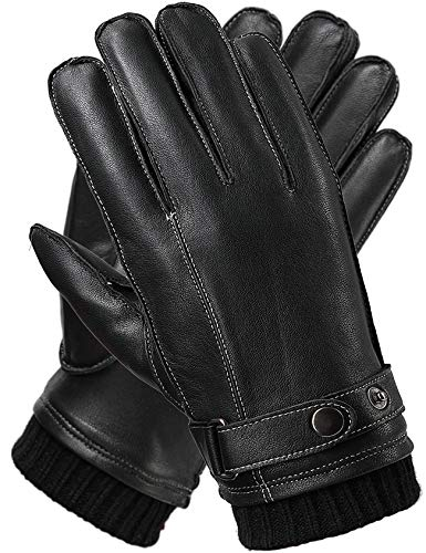 Leder Handschuhe Herren Winter FULL-HAND Touchscreen Thermofutter Geschenkverpackung Smartphone Fahrradhandschuhe Männer Motorradhandschuhe Baumwolle,Schwarz,S