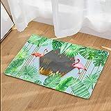 Nunubee Designer Paillasson Home Tapis de Sol antidérapant extérieur d'entrée Interieur Caoutchouc Fibre de Coco Geek Été Chat Chouette cerf Multicolore, Plante verte2 40 * 60cm