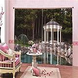 ZZKNIT Vorhang Verdunkelungs Blickdichte Gardinen Pavillon Thermo Vorhänge Blickdicht 2 Panel Polyester mit Haken für Schlafzimmer,220 x 215cm