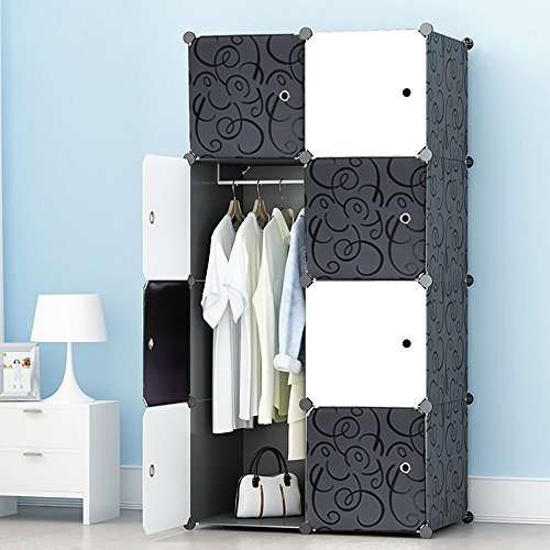 JOISCOPE Portable Wardrobe for Hanging Clothes, Combination Armoire, Modular Cabinet for Space Saving, Ideal Storage Organizer Cube for Books, Toys, Towels(8-Cube)