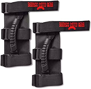 Badass Moto Gear Jeep Grab Handles for Roll Bar. Jeep Wrangler Accessories with Attitude - Easy to Install -Triple Banded for Security. Fits Unlimited, Sahara, Rubicon, CJ, JK, TJ, JL. 2 Pack.