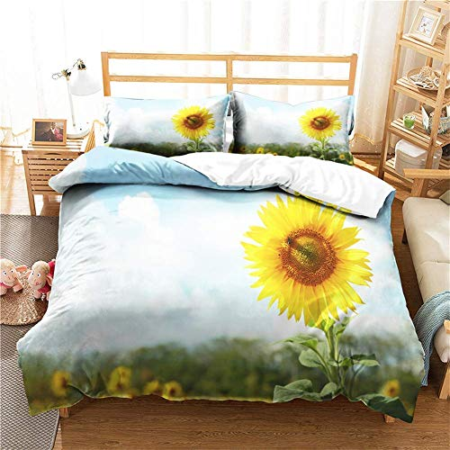 3 Piece Bedding Set, 3d Sunflower Print Effect Single Double Super King Size Quilt Duvet Cover & Pillo