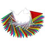 Anpro 40 Wimpeln Girlande Schöne Wimpelkette 15 M Fahnen Girlande in 5 Farben für Weihnachten Geburtstagsparty, Mehrfarbig, EINWEG