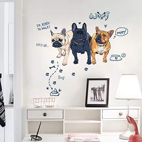 Perros de dibujos animados pegatinas de pared de gran tamaño decoración del hogar animales fondos de pantalla Diy decoración de pared de vinilo para habitación de niños