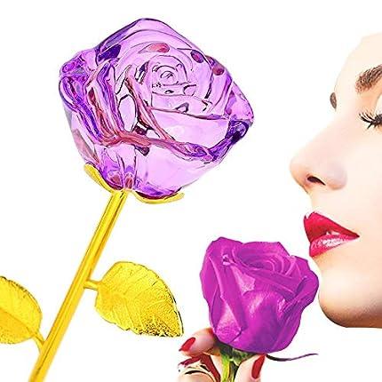 Rosas de cristal chapadas en oro de 24 quilates, de tallo largo, regalos para novia, adornos de cristal de rosas para decoración, de ZJchao, Morado, talla única