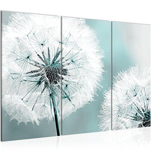 Bilder Blumen Pusteblume Wandbild 120 x 80 cm Vlies - Leinwand Bild XXL Format Wandbilder Wohnzimmer Wohnung Deko Kunstdrucke Blau 3 Teilig - MADE IN GERMANY - Fertig zum Aufhängen 207131b