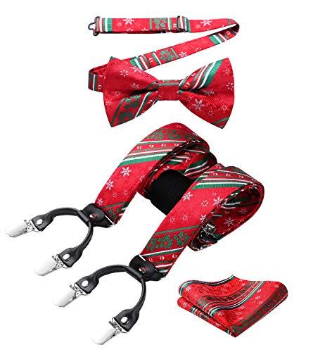 HISDERN Mens Christmas Suspenders with Strong Metal Clips Adjustable Y Shape Fun Santa Braces Bowtie Set Pocket Square