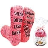 iZoeL Flauschsocken damen Lustige Socken wenn du das lesen kannst bring mir Schokolade Kaffee Witzige Kuschelsocken Cupcake Socken