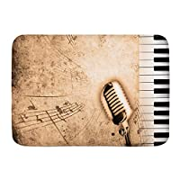NIESIKKLA バスマット、ピアノとセピアの汚れた音楽の背景、マット滑り止め ソフトタッチ 丸洗い 洗濯 台所 脱衣場 キッチン 玄関やわらかマット 45x 75cm