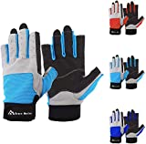 Brace Master men's gloves for sailing, fishing, rowing, kayaking, surfing, canoeing, dinghy and water sports, skin in the palm to improve grip, 3/4 fingers(S, LightBlue)
