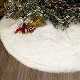 AEE LIFV Jupe de Sapin de Noël Blanc Peluche Neige Décorations d'arbre de Noël Tapis Vacances Couvre Pied Sapin Noel (90cm)